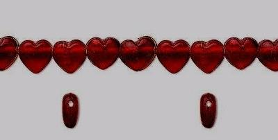 """2 Strands 16"""" RUBY RED Glass HEART BEADS (75 +) 11mm x 11mm Side Drilled"""