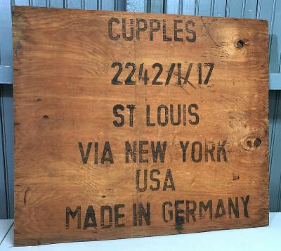 Samuel Cupples St. Louis Antique Wooden Shipping Box Panel Germany Via New York