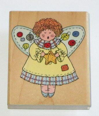 Button Angel Rubber Stamp Singing Star Wood Mounted Retired