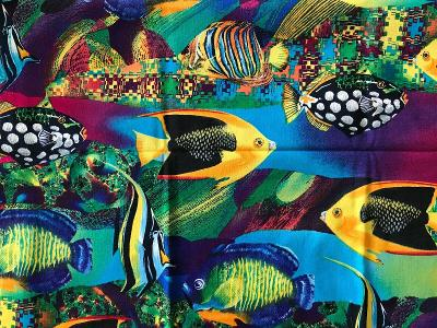 """Tropical Fish Fabric Psychedelic Colors Quilting Sewing Crafts 36 x 42"""""""