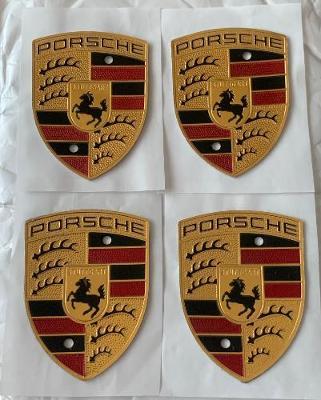 Porsche Coloured Crest Wheel Cap Shields Emblems x4 OE