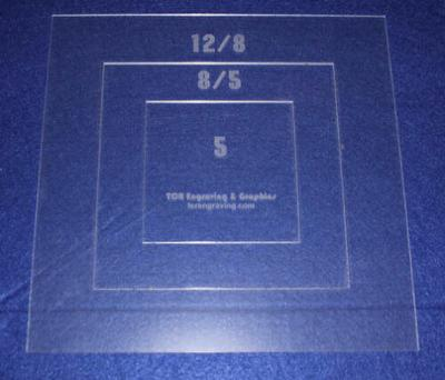 """Common Size Pillow/Fabric Acrylic Templates - 3 Piece Square Set -Sew/Quilt 1/8"""""""