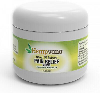 Hempvana 4 oz. Maximum Strength Hemp Oil Infused Pain Relief Cream Fast Shipping