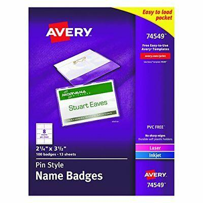 74549 Avery Pin Style Top-Loading Name Badges 2.25 x 3.5 Inches White Box 100