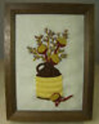 Finished Crewel Embroidery Picture Wall Art Jug with Dried Pods & Pussywillows