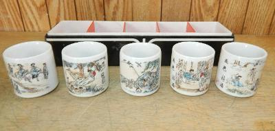 Porcelain Saki Cups Set of 5 with Painted Scenes