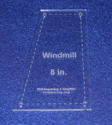 """Windmill - Makes 8"""" Finished Square-- 1/8"""" Clear Acrylic - Quilting Templates-"""