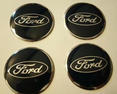 56mm Black Ford Wheel Centre Cap Emblems Badges Tin Stickers x4