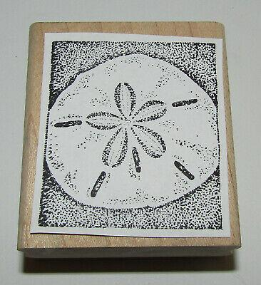 "Sand Dollar Rubber Stamp Stampin Up Beach Retired Wood Mounted 2.25"" High"