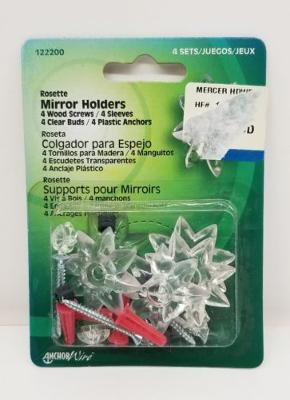 ANCHOR WIRE/HILLMAN GROUP #122200 4PKCLR Mirr Rosette/Bud by Hillman Fasteners