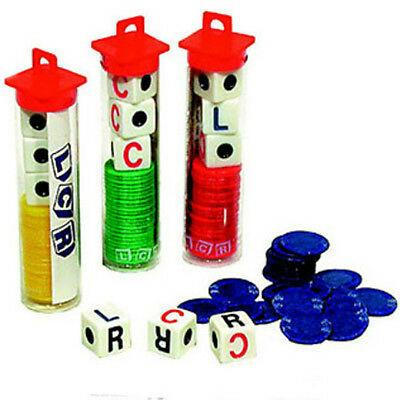 5 LCR Dice Games Free Shipping Less than $5.00 A Game Gift Five Stocking Stuffer