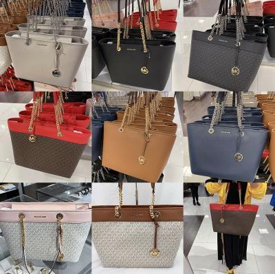 NWT Michael Kors Shania Large Shoulder Bag Leather Tote MK Signature Multi Color