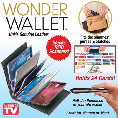 4 pk Wonder Wallet - Amazing Slim Rfid Wallets As Seen on Tv, Black