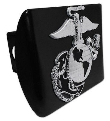 Marines Premium Emblem on Black Metal Hitch Cover