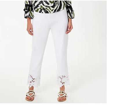 Dennis Basso Regular Luxe Crepe Slim-Leg Ankle Pants w/ Lace White Small