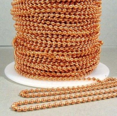100 Feet 2.4mm Solid COPPER BALL CHAIN #3 BULK LOT Footage Made in USA on spool