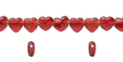 """Single Strand 16"""" RUBY RED Glass HEART BEADS (35 +) 11mm x 11mm Side Drilled"""