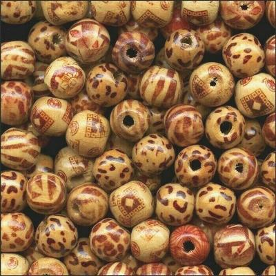 300 PAINTED Pattern Bamboo BEADS 12mm ROUND ~Lighter + Stronger than Wood