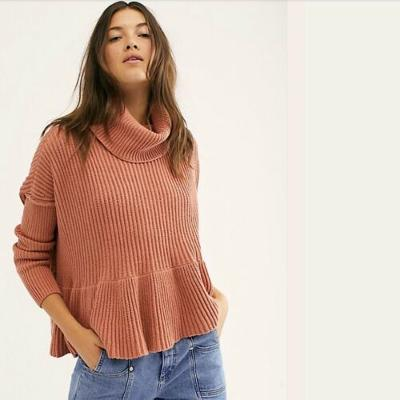 Free People NWT Layer Cake Sweater Turtleneck Ribbed Knit Coconut Medium M New