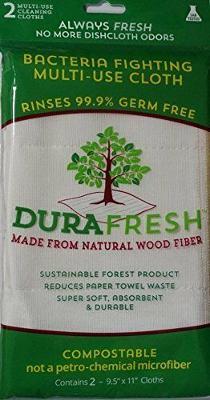 2 DuraFresh Antimicrobial Antibacterial Dish Cloth Wood Fiber Bacteria Fighting