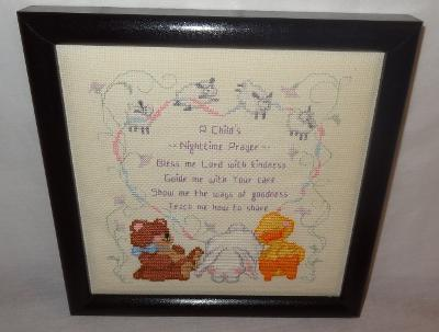 New Baby Prayer Christian Nursery Bless Me Lord Finished Cross Stitch U.S.A.