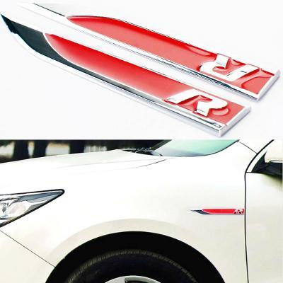 VW Golf R Side Fender badges emblems red and chrome for golf gti polo Passat
