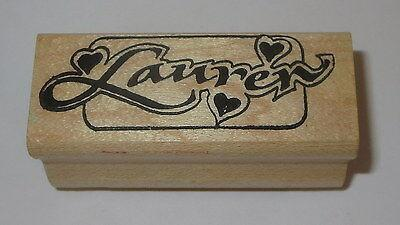 """Lauren Rubber Stamp Hearts Name Brand Names People Wood Mounted 2.5"""" Long"""