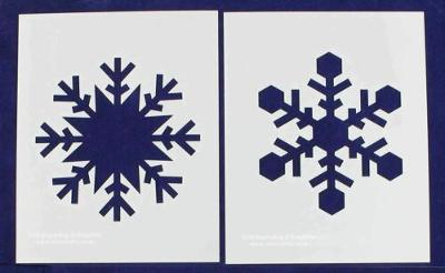 """Large Snowflake B-2 Piece Stencil Set 14 Mil 8"""" X 10"""" Painting /Crafts/ Template"""