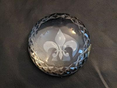 Fleur de Lis Waterford Crystal 3.5 inch Round Dome Paperweight Ireland Crystal