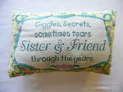 """Decorative Pillow """"Giggles, Secrets, ... Sister & Friend Through the Years"""""""