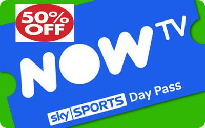 NOW TV 50% OFF A SKY SPORTS DAY PASS