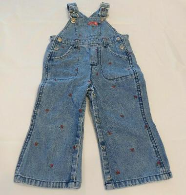 Faded Glory Girl's Pants Overalls Denim Blue Jeans Size 18 Months GUC