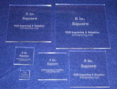 """6 Square Set 1"""" to 6"""" Clear Acrylic 1/4"""" Laser Cut Quilt Templates- NO Seam"""