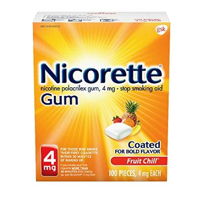 Nicorette 4 mg Nicotine Gum to Quit Smoking, Flavor, Fruit Chill 100 Count (Pack
