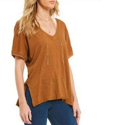 NWT FREE PEOPLE Take Me Tee Top Large L Deep Caramel Color New FP