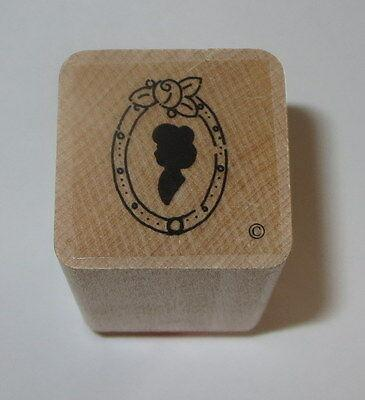 Portrait Mirror Rubber Stamp Close To My Heart Wood Mounted Silhouette Rose