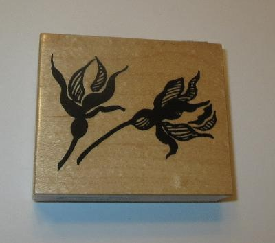 "Fuchsia Flowers Rubber Stamp PSX Brand Rare Wood Mounted 3"" Long USA Made"