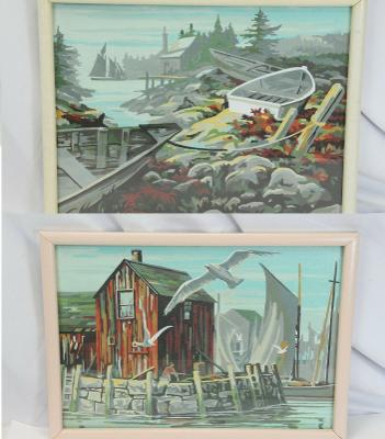 """Paint By Number Coastal Scenes 2 Framed Boat Seagull Nautical 16"""" x 12"""" Vintage"""