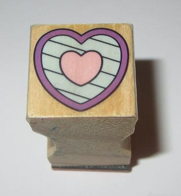 """Heart Stripes Rubber Stamp Love Hearts Mini 3/4"""" Square Wood Mounted Background"""