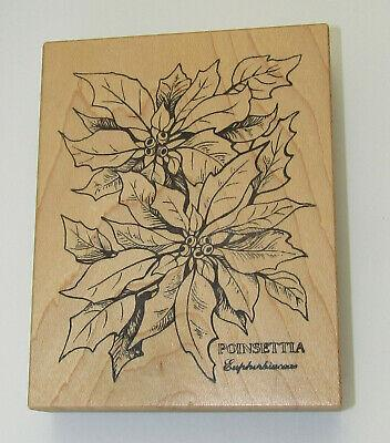 Poinsettia Flowers Rubber Stamp PSX Large Wood Mounted Christmas Plant USA Made