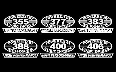 2 HIGH PERFORMANCE V8 ENGINE DECAL HP SBC 355-377-383-388-400-406 BORED STROKER