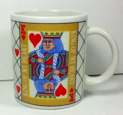 KING OF MY HEART Coffee Mug 12 ounces Love Valentine King of Hearts Playing Card