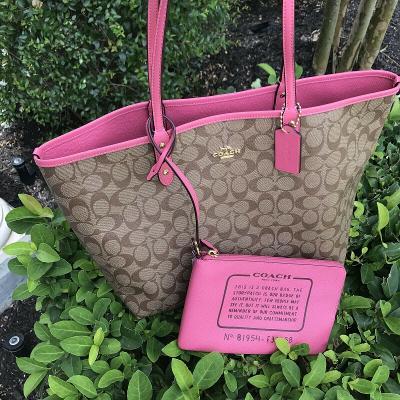 NWT Coach Signature Reversible City Zip Tote Bag Khaki Pink Ruby F36658