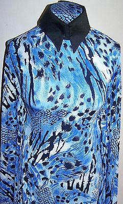 Royal Blue Black and White Textured Animal Print Lycra Stretch Fabric 42 x 58 in