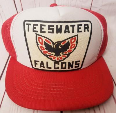 VINTAGE 90'S TEESWATER FALCONS TRUCKER HAT CAP MESH ONTARIO HOCKEY SNAPBACK HTF
