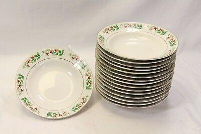 """Everyday Gibson Xmas Charm Holly Berry Soup Bowls 8.125"""" Lot of 16"""