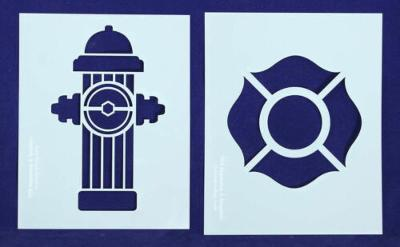 Fire Hydrant/Maltese Cross Stencils-2pc -Mylar 14 Mil Painting/CraftsTemplate