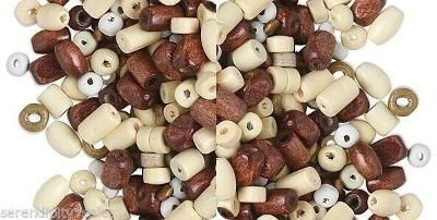 ECONOMY WOOD BEAD Mixed Shapes + Sizes (4-8mm) 100 grams ~2300+ Assorted Pieces!