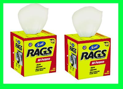"""2 BOXES Scott RAGS IN A BOX Multi Use Strong Paper Cleaning Cloth 12""""x10"""" 200pk"""
