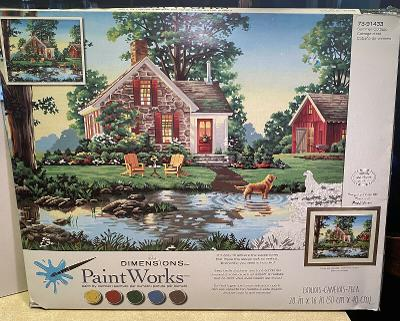 Paint By Number Kit Summer Cottage 20x16 PBN Set 73-91433 Unused PaintWorks